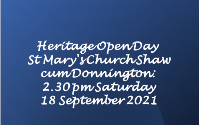 Heritage Open Day at St Mary's 2.30 pm Saturday 18 September 2021